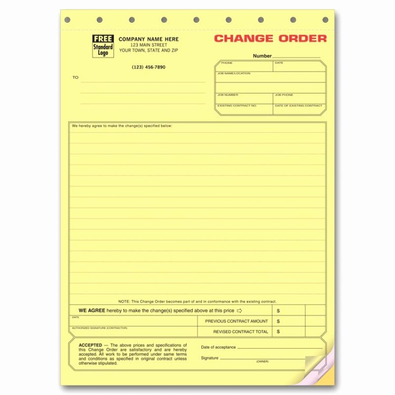 Free Printable Change order forms Beautiful Special Contraction Change order forms 271 at Print Ez