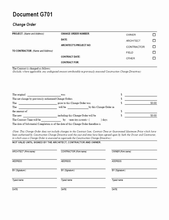 Free Printable Change order forms New Aia G701 Change order form Template for Excel Change