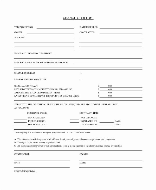Free Printable Change order forms New Change order form