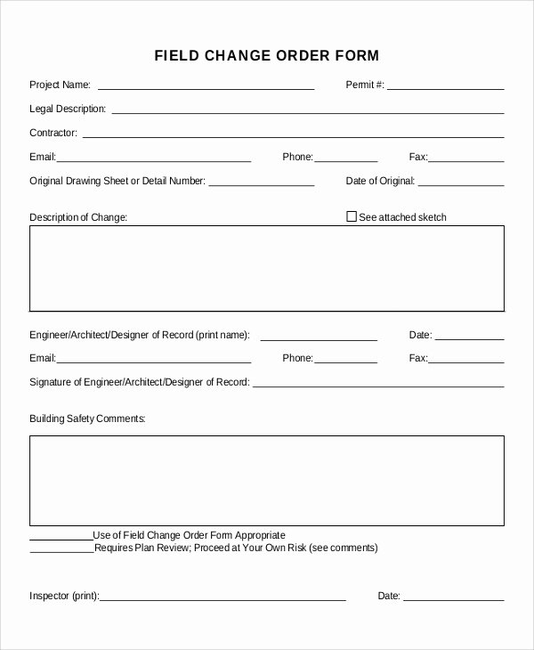 Free Printable Change order forms Unique Sample Change order form 12 Examples In Word Pdf