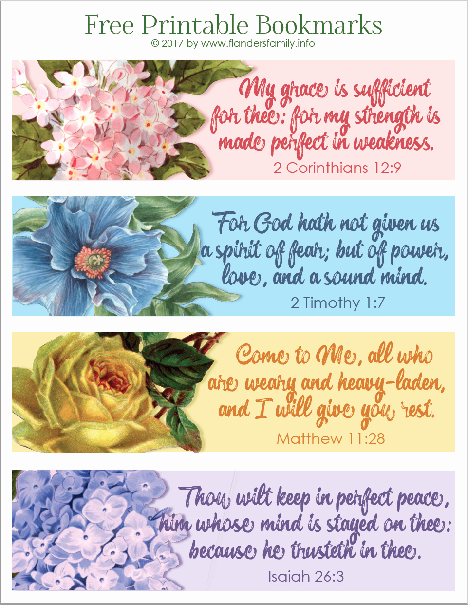 Free Printable Christian Bookmarks Inspirational Pretty Printable Scripture Bookmarks Flanders Family