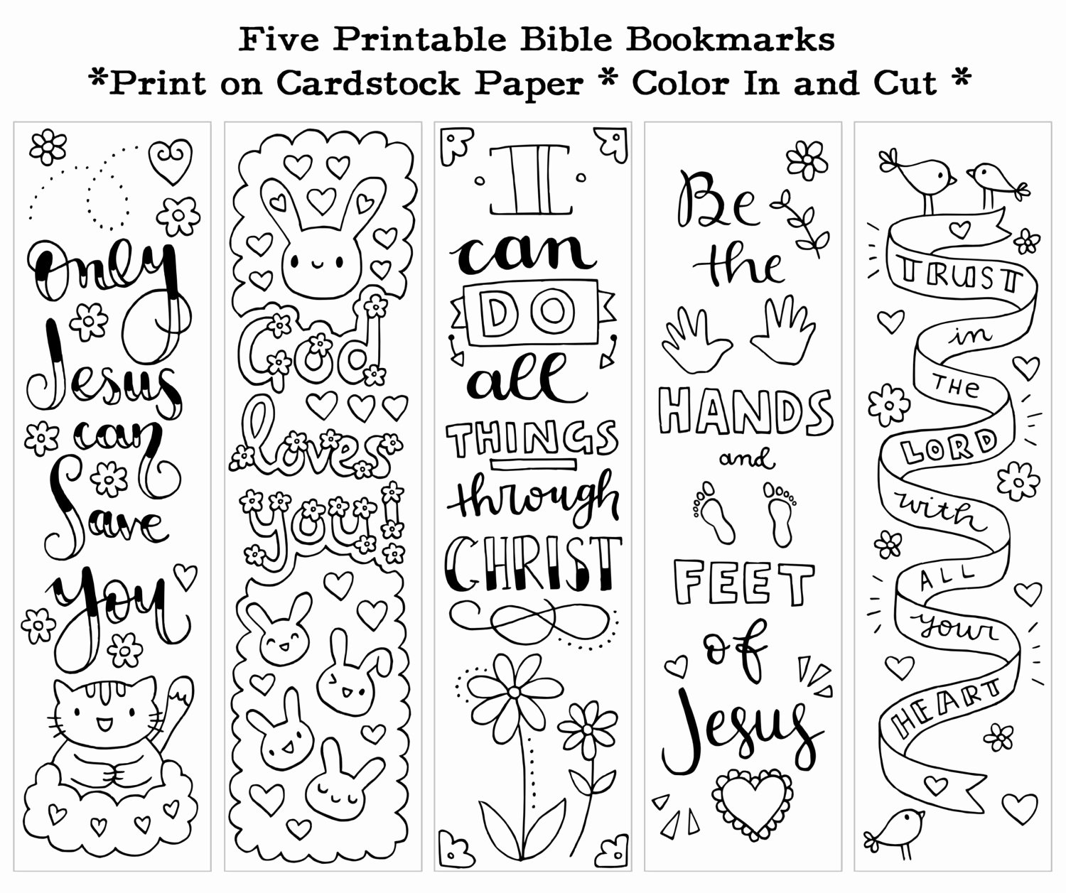 Free Printable Christian Bookmarks Lovely Five Instant Printable Color In Cute Bible Bookmarks by Susyan