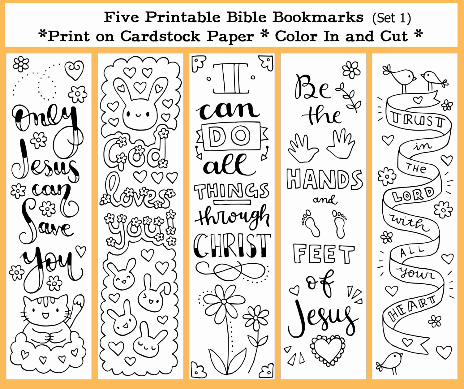 Free Printable Christian Bookmarks Luxury Five Instant Printable Color In Cute Bible Bookmarks