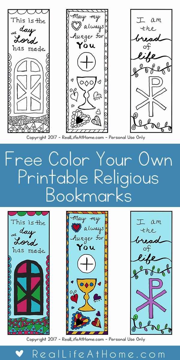 Free Printable Christian Bookmarks Unique Free Color Your Own Printable Religious Bookmarks for