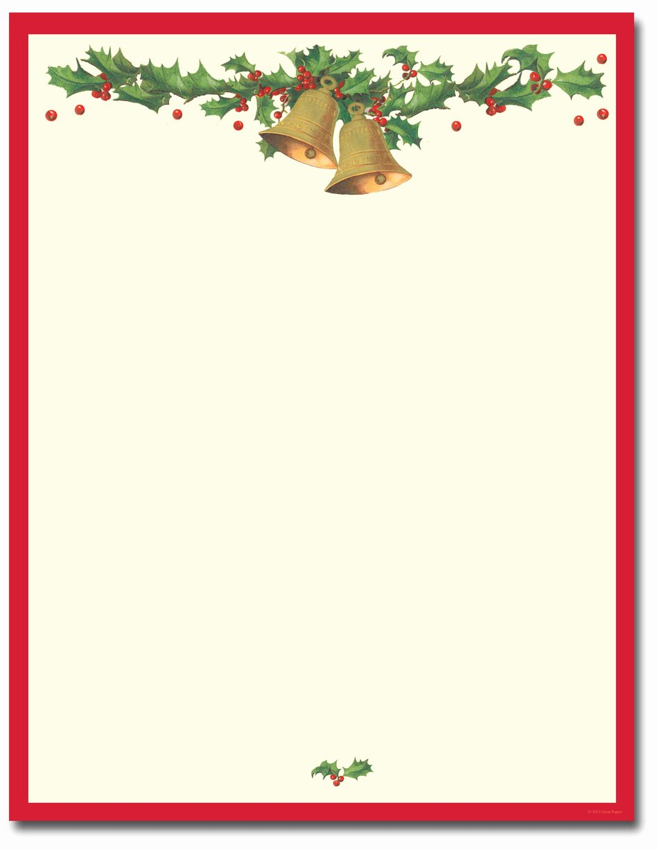 Free Printable Christmas Stationary Beautiful Antique Bells Letterhead