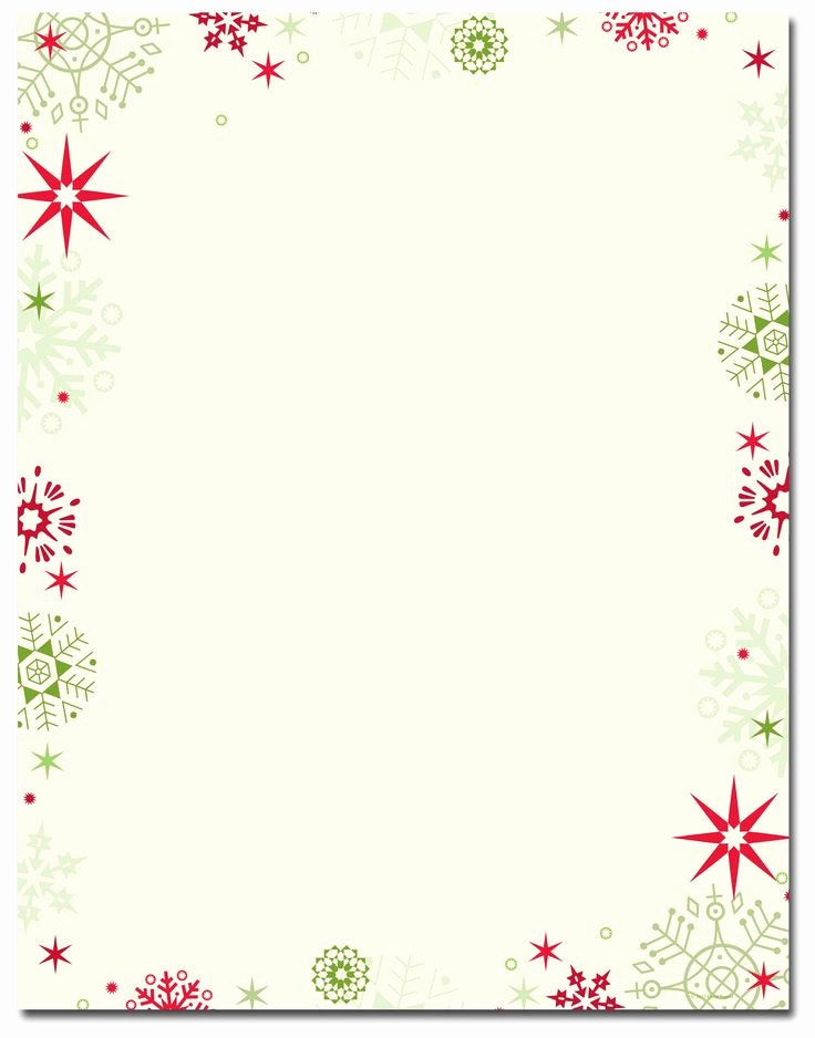 Free Printable Christmas Stationary Elegant Red & Green Flakes Letterhead Holiday Papers