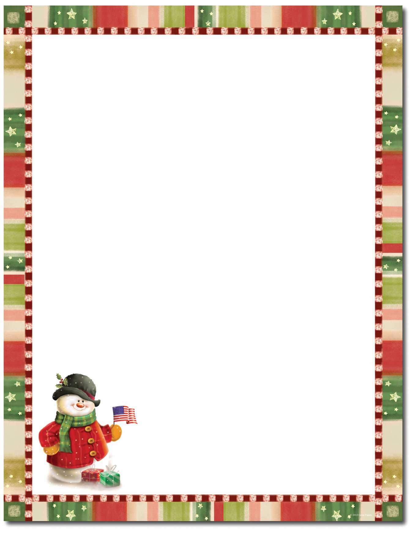 Free Printable Christmas Stationary Lovely Great Papers Patriotic Snowman Letterhead