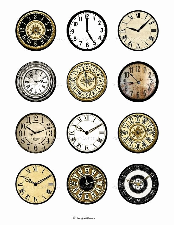 Free Printable Clock Faces New Instant Download Clock Faces 2 Inch Printable Circles