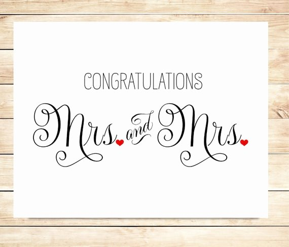 Free Printable Congratulations Cards New Items Similar to Printable Mrs and Mrs Wedding Card