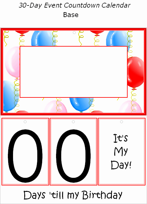Free Printable Countdown Calendar Awesome Free Printable Birthday event Countdown Calendar