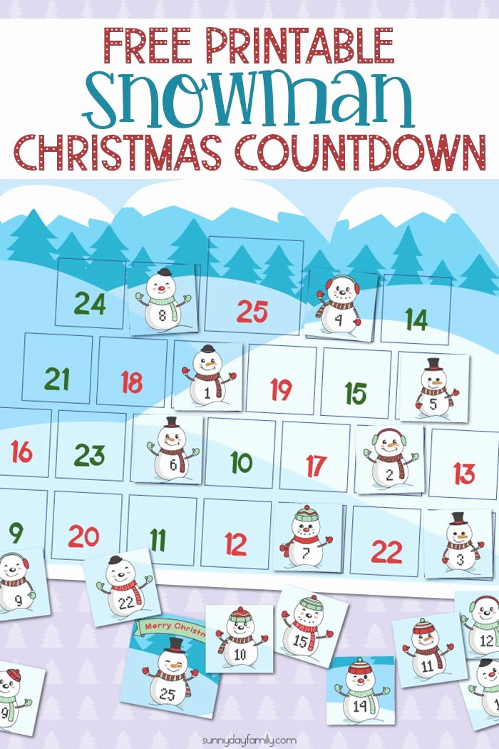 Free Printable Countdown Calendar Awesome Free Printable Snowman Christmas Countdown Calendar for