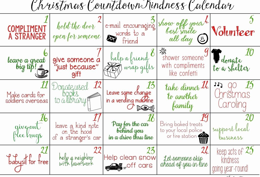 Free Printable Countdown Calendar Fresh Counting Down to Christmas with Acts Of Kindness