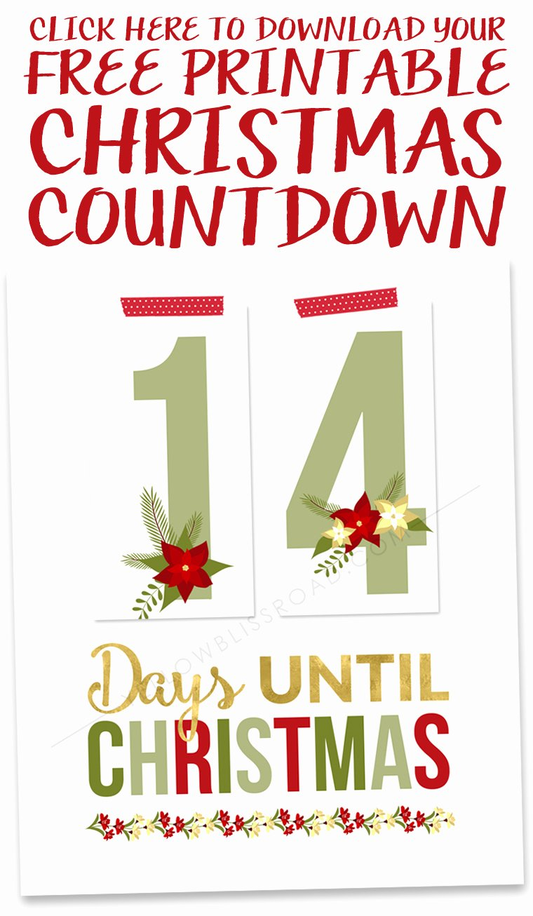Free Printable Countdown Calendar Inspirational Free Printable Christmas Countdown Yellow Bliss Road