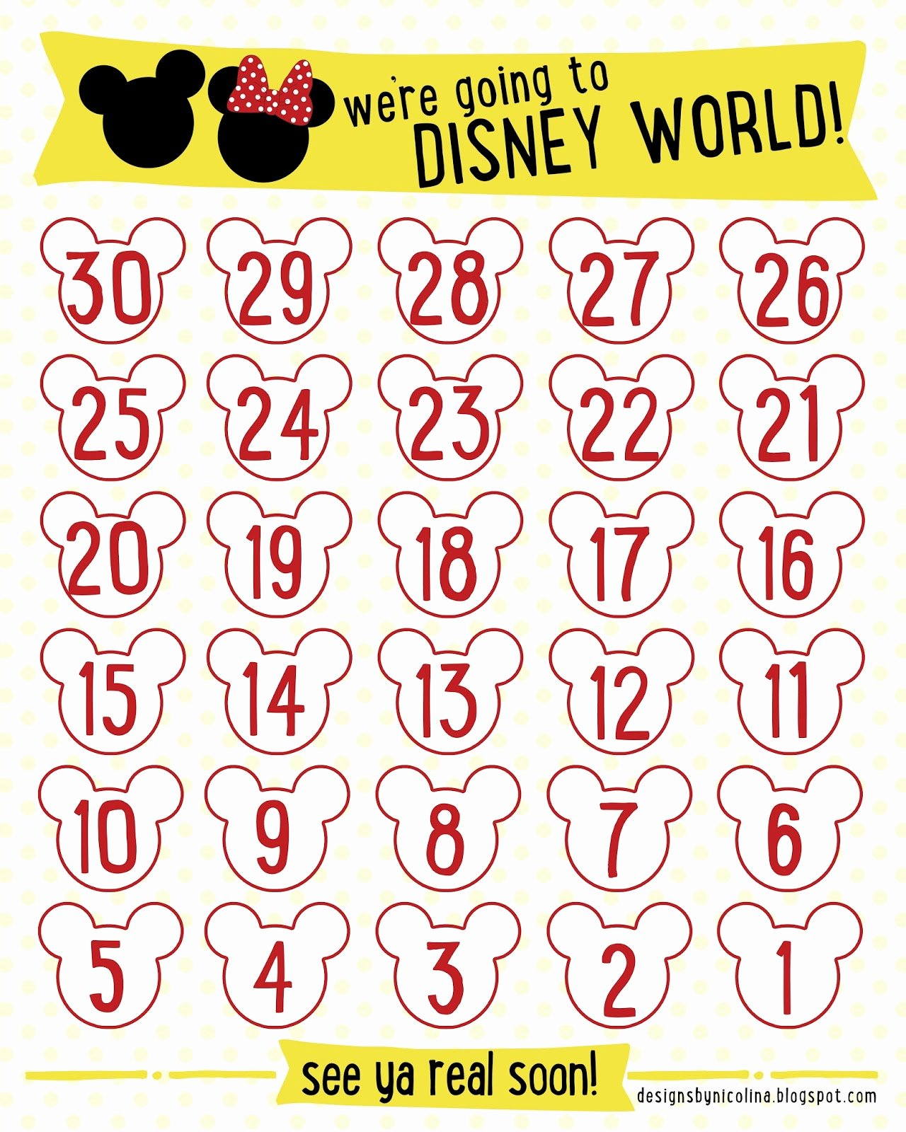 Free Printable Countdown Calendar Unique Designs by Nicolina Disney Countdown Free Printable