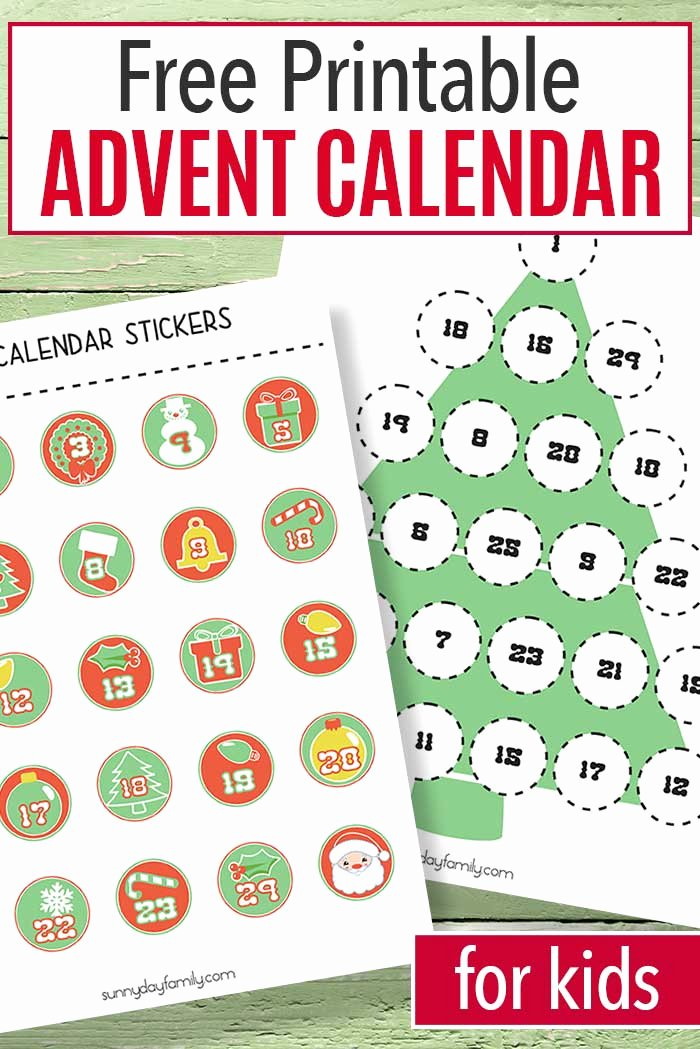 Free Printable Countdown Calendar Unique Free Printable Advent Calendar for Kids