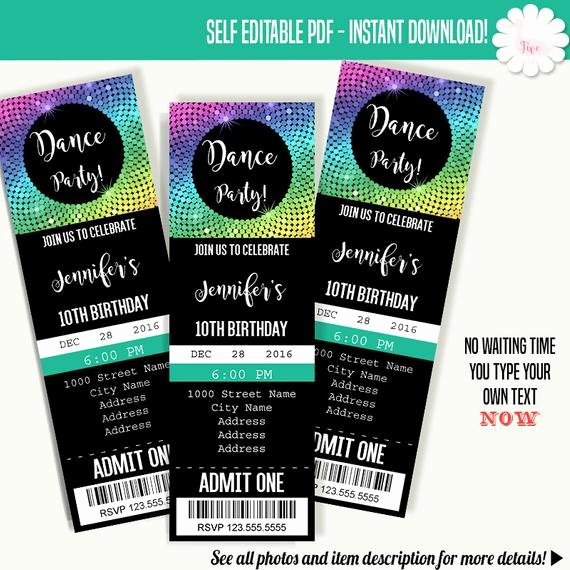 Free Printable Dance Party Invitations Beautiful Dancing Party Invitation Dance Party Ticket Template Instant