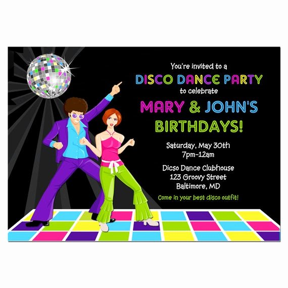 Free Printable Dance Party Invitations Beautiful Disco Dance Party Invitation Printable or Printed with Free