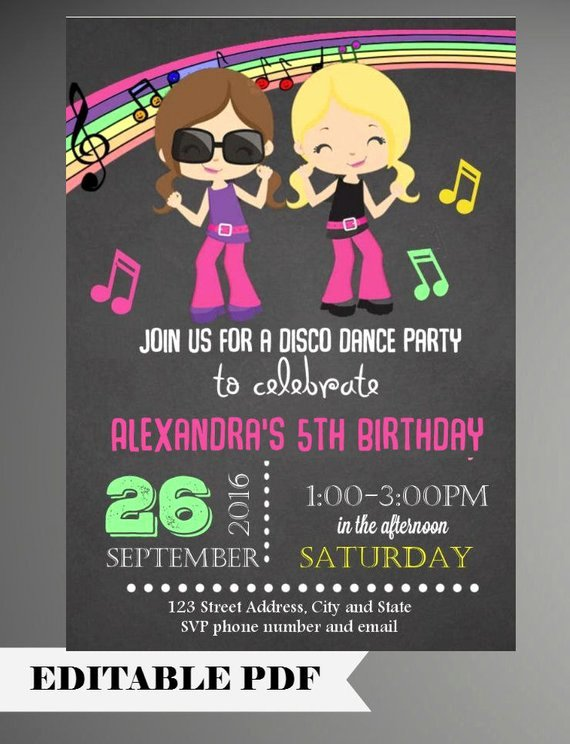 Free Printable Dance Party Invitations Beautiful Editable Text Girl Dance Party Invitations