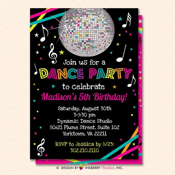 Free Printable Dance Party Invitations Elegant Dance Party Invitation Dance Party Invite Neon Glow Dance
