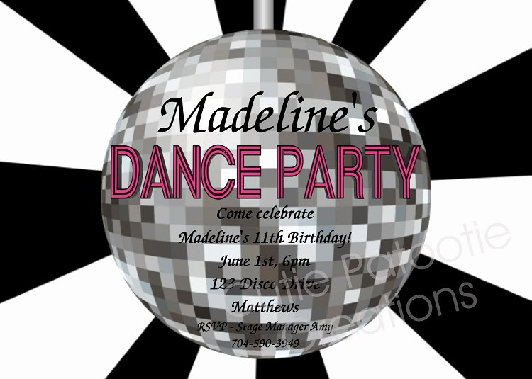 Free Printable Dance Party Invitations Inspirational Disco Ball Birthday Party Invitations Printable or Printed