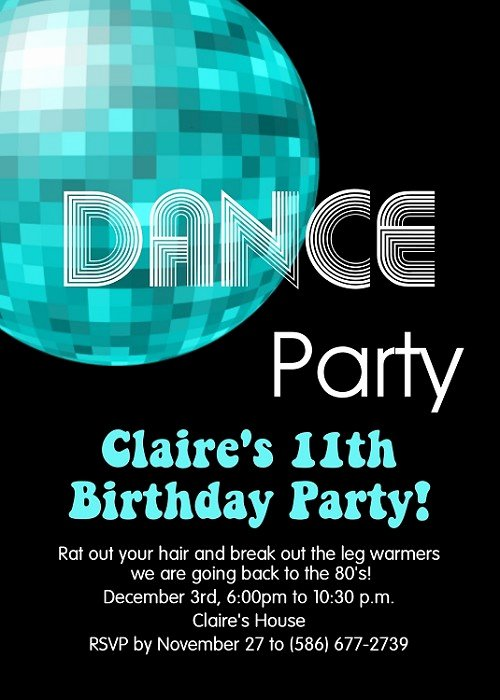 70s and 80s Disco Dance Birthday Party Invitations Printable or Printed p 616
