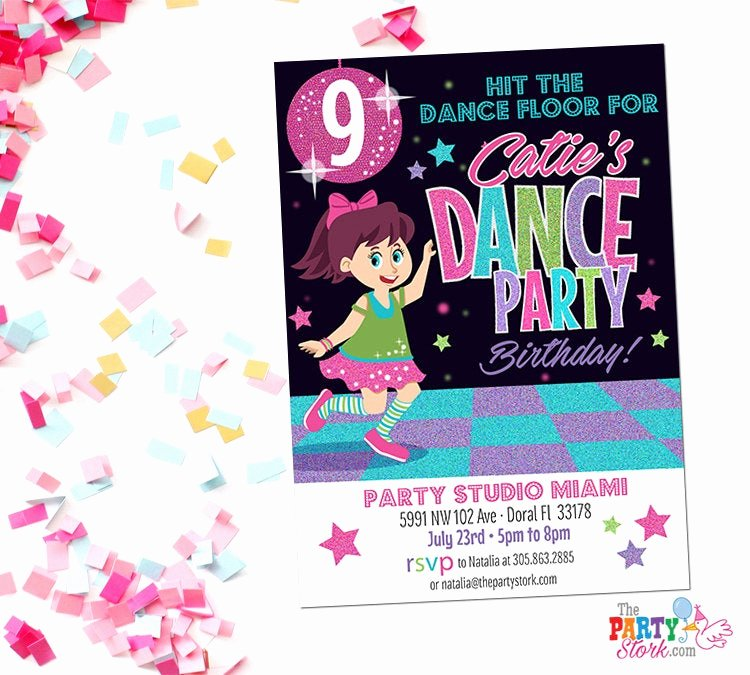 Free Printable Dance Party Invitations Lovely Dance Party Invitation Printable Birthday Invitations for