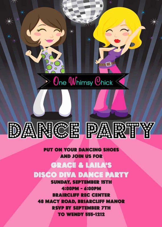 Free Printable Dance Party Invitations Lovely Items Similar to Disco Dance Party Birthday Invitations