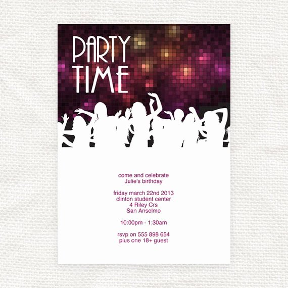 Free Printable Dance Party Invitations Lovely Items Similar to Printable Birthday Party Invitation