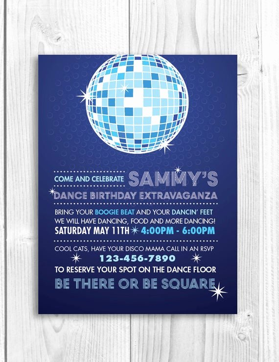 Free Printable Dance Party Invitations Luxury Printable Birthday Party Invitation Disco Dance Party