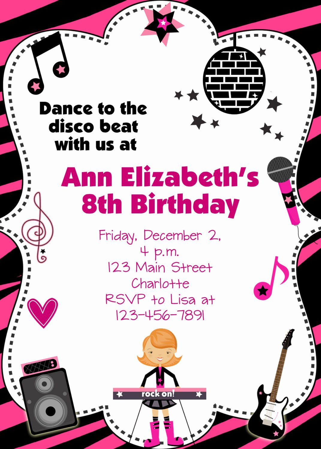 Free Printable Dance Party Invitations New Dance Party Birthday Invitation Custom Printable