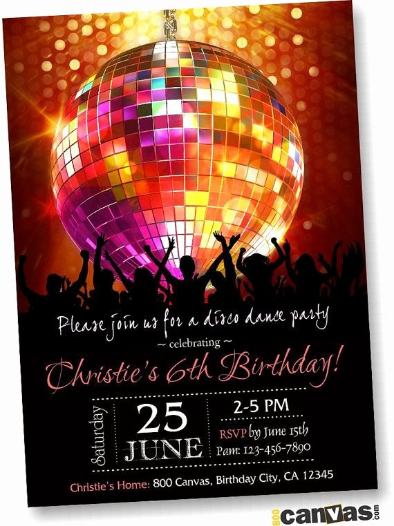 Free Printable Dance Party Invitations New Disco Ball Birthday Party Invitation Disco Dance Party