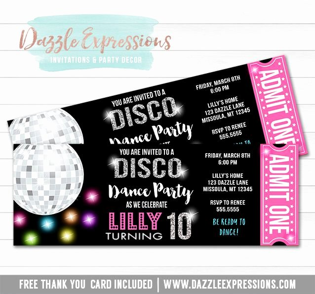 Free Printable Dance Party Invitations Unique Printable Disco Dance Birthday Ticket Invitation