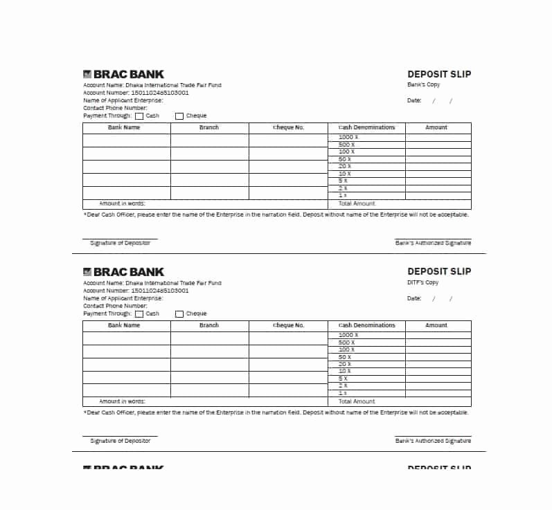 Free Printable Deposit Slips Template Awesome 37 Bank Deposit Slip Templates & Examples Template Lab