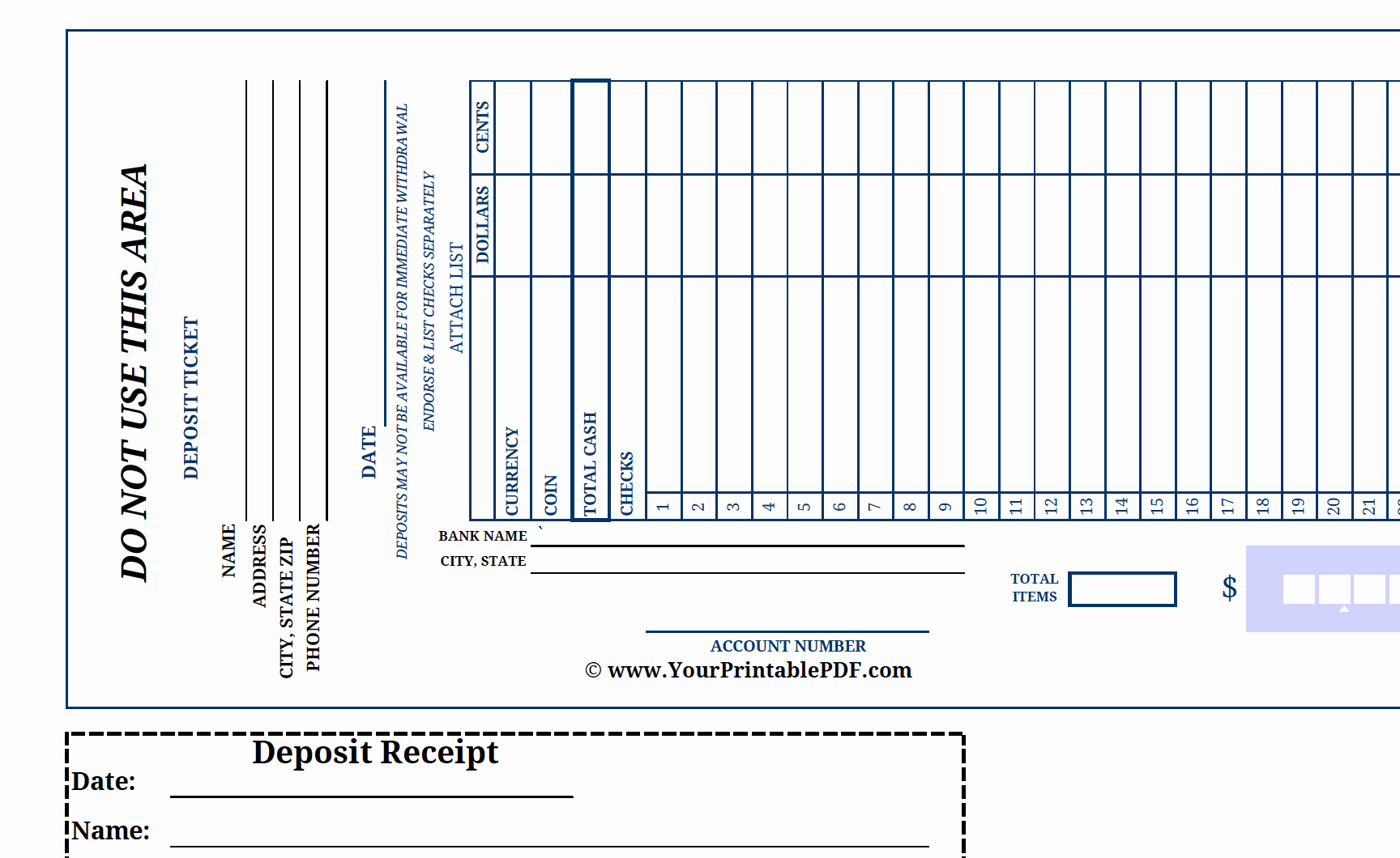Free Printable Deposit Slips Template Best Of Printable Print Bank Deposit Slip there is Nothing
