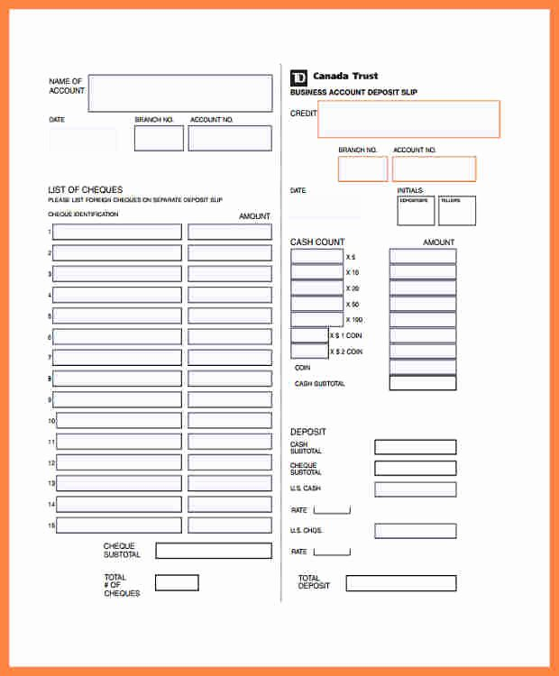Free Printable Deposit Slips Template Luxury 7 Td Bank Deposit Slip Template