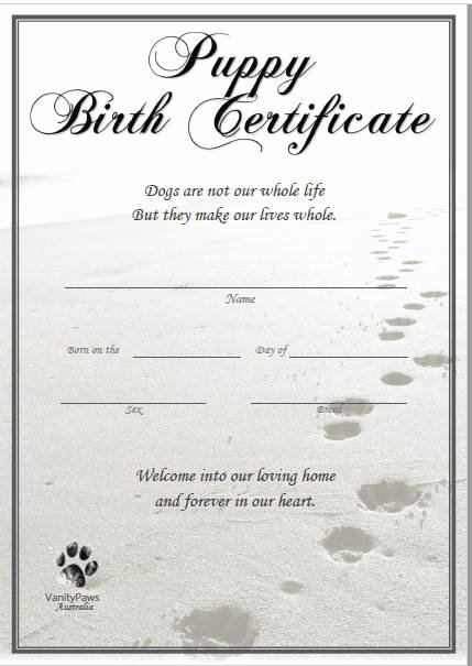Free Printable Dog Birth Certificate Awesome Puppy Birth Certificate