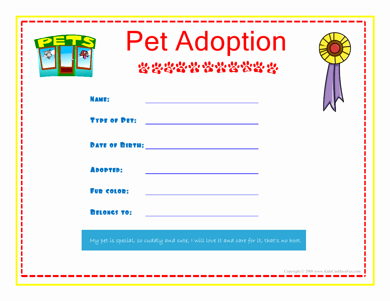 Free Printable Dog Birth Certificate Elegant Pet Adoption Certificate for the Kids to Fill Out About