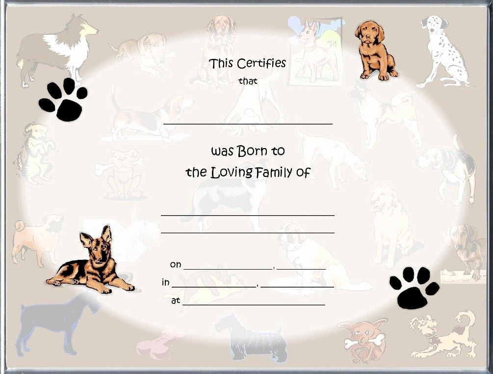 Free Printable Dog Birth Certificate Inspirational Pet Birth Certificate