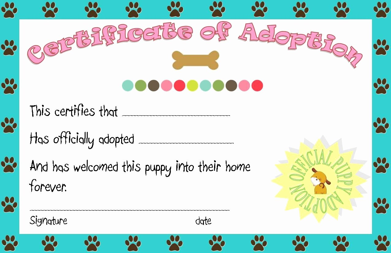 Free Printable Dog Birth Certificate Lovely Puppy Party Adoption Certificate Printable Angie