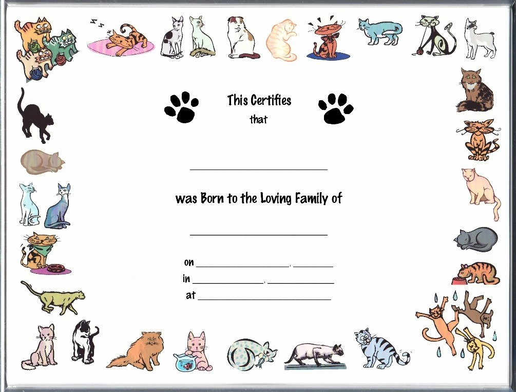 Free Printable Dog Birth Certificate Luxury Cat Birth Certificates Page