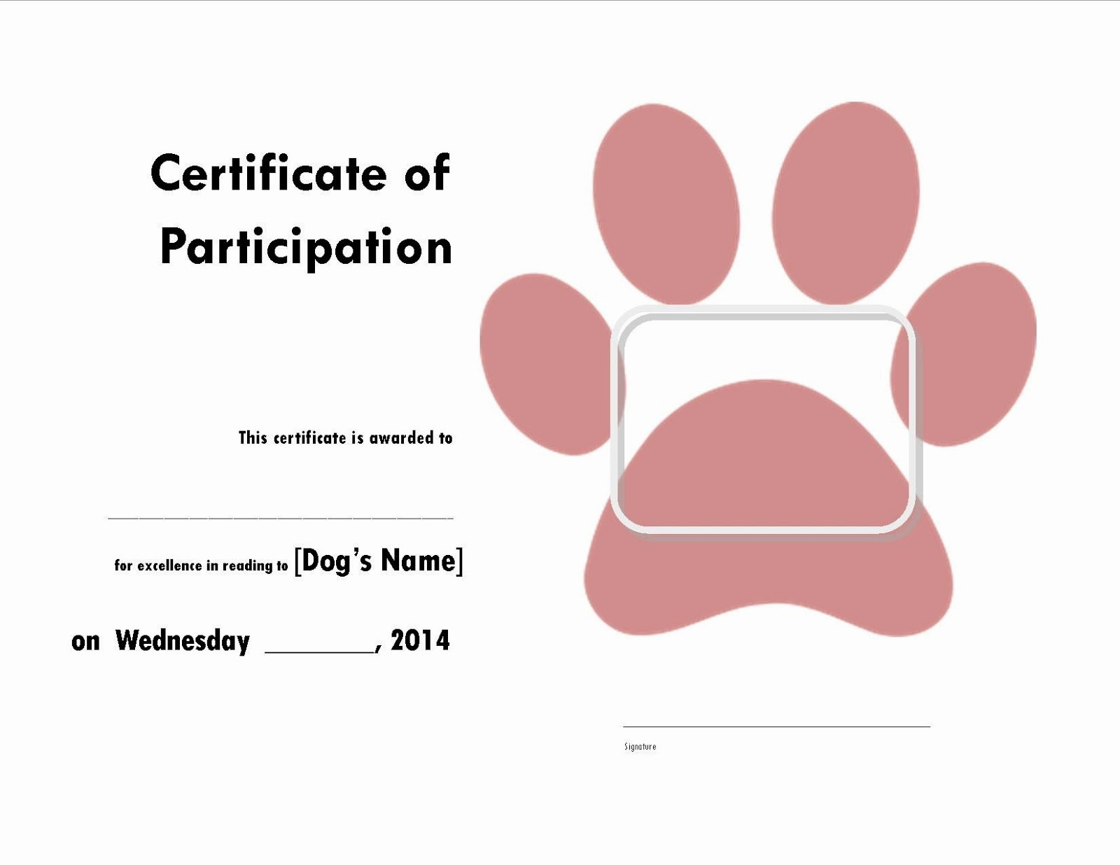 Free Printable Dog Birth Certificate Luxury with Kiddos the Library Read to the Dogs Certificate
