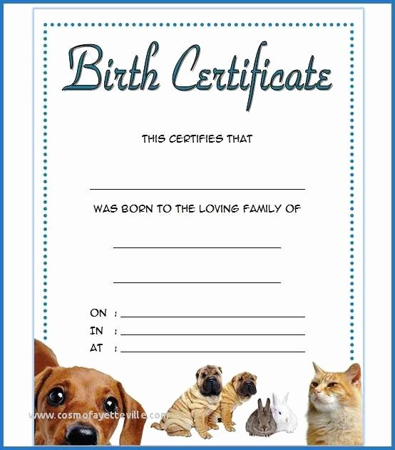 Free Printable Dog Birth Certificate New 57 top Quality Free Printable Puppy Birth Certificate