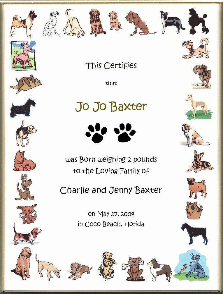 Free Printable Dog Birth Certificate Unique Keepsake Dog Birth 8 5 X 11 Inch Certificate Cartoon Dog