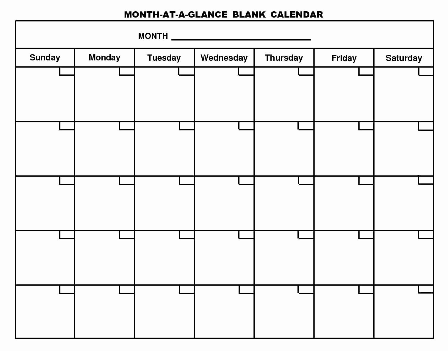 Free Printable Editable Calendar Fresh Free Printable Month at A Glance Blank Calendar 1506×1179