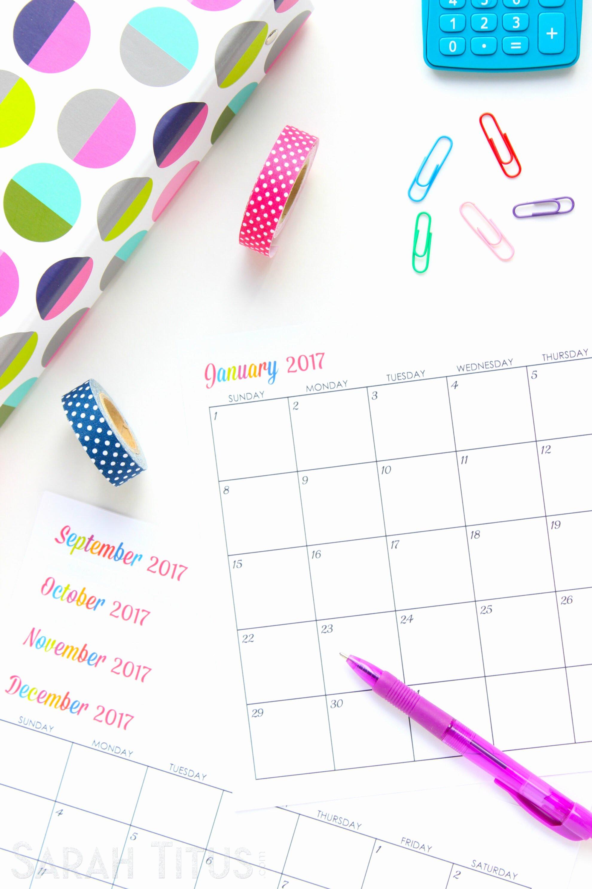 Free Printable Editable Calendar Inspirational Custom Editable Free Printable 2017 Calendars Sarah Titus