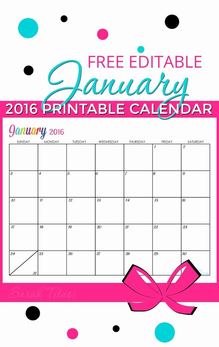 Free Printable Editable Calendar Lovely Free Blank Line Calendar January 2016
