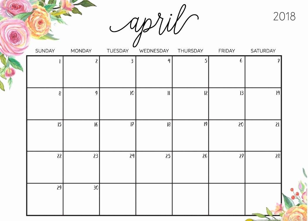 Free Printable Editable Calendar Unique Editable April 2018 Floral Calendar