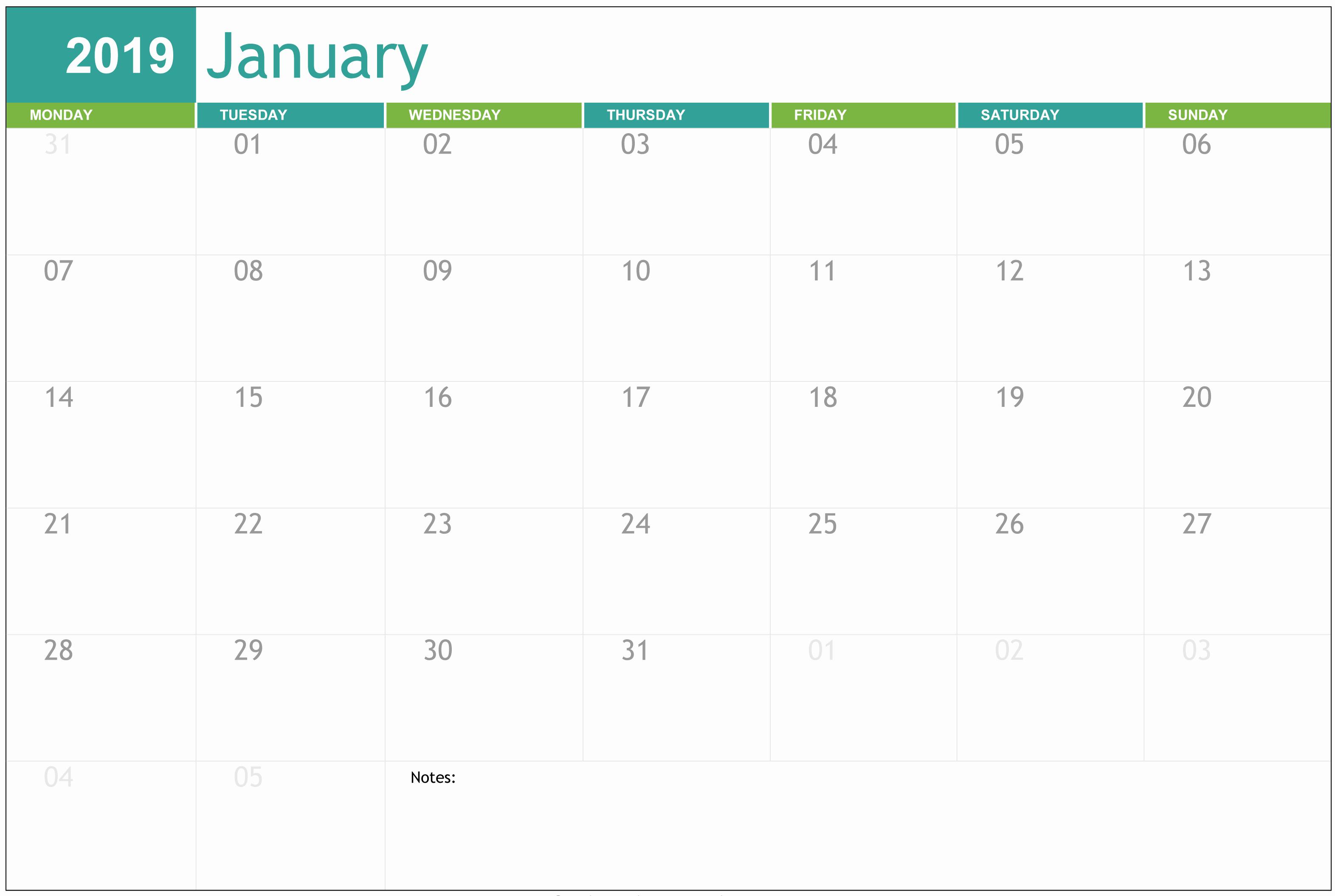 Free Printable Editable Calendar Unique Editable January 2019 Calendar Printable Template