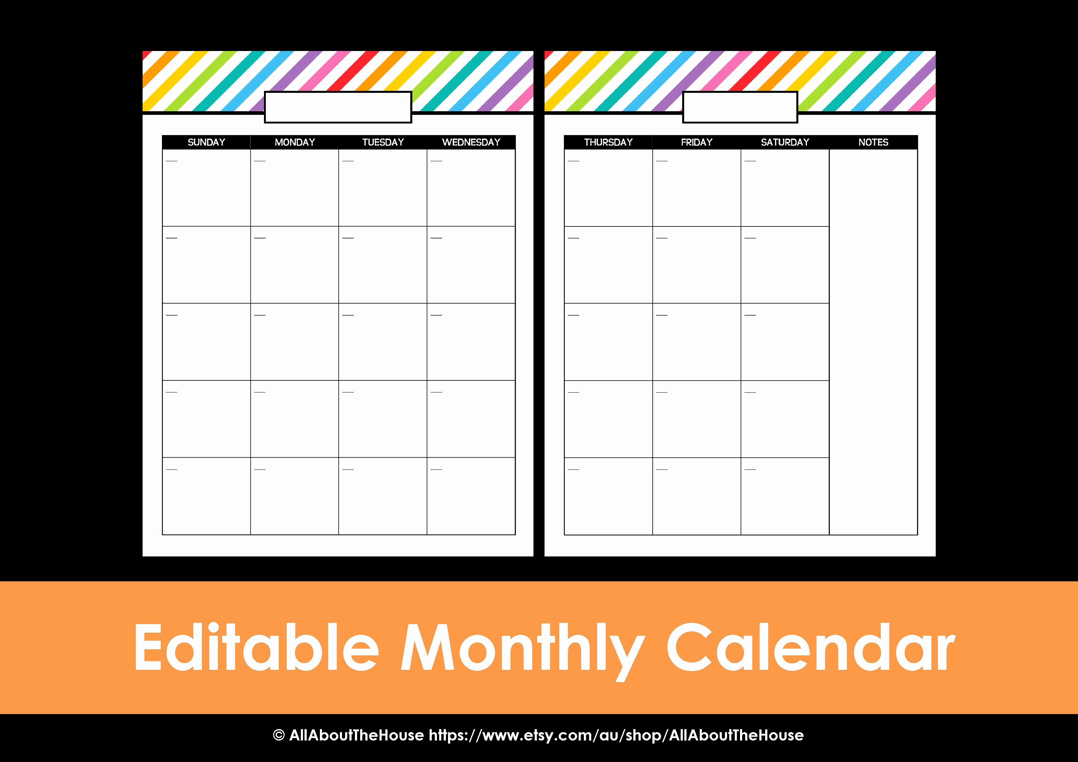 Free Printable Editable Calendar Unique My 2015 Printable Rainbow Daily Planner All About Planners