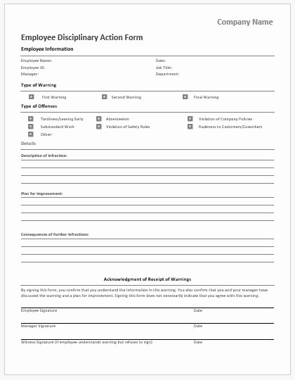 Free Printable Employee Disciplinary forms Awesome Employee Vacation Request form for Ms Word